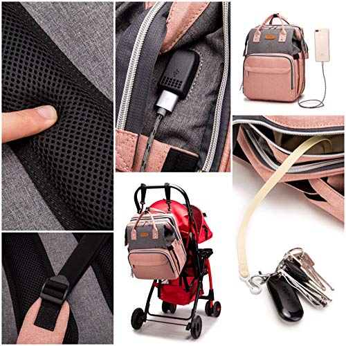Infant & Toddler Travel Bed,Travel Bag,Nap Mats,Diaper bag,Mommy bag,baby bag,bag bed,bed bag (Pink Grey)