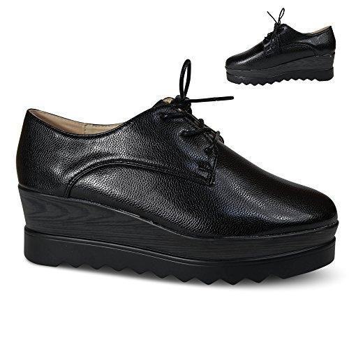 Schuhtraum Damen Schnürer Halbschuhe Schnürhalbschuhe Plateau Glanz Sneakers ST25E Schwarz