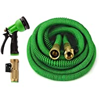 GrowGreen All New 2019 Garden Hose {Improved} Expandable Hose with All Brass Connectors, 8 Pattern Spray and High Pressure, Expanding Garden Hose