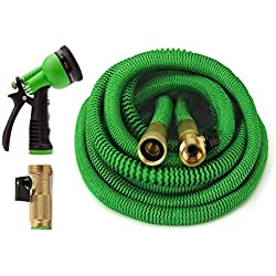 GrowGreen All New 2019 Garden Hose 50 Feet {Improved} Expandable Hose with All Brass Connectors, 8 Pattern Spray and High Pressure, Expanding Garden Hose