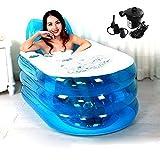 Kyпить Foldable Inflatable Bath Tub Durable Adult SPA Bathtub w/Electric Air Pump - Blue на Amazon.com
