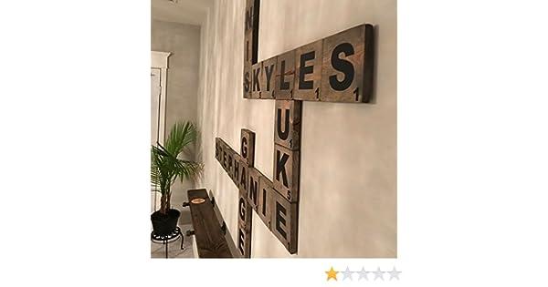 Letras grandes de Scrabble en madera natural, para decoración de pared: Amazon.es: Hogar