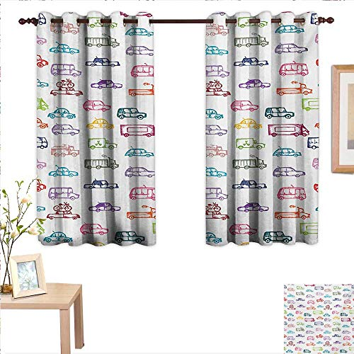 (MartinDecor Cars Waterproof Window Curtain Various Types of Vehicles Bus Truck Garbage Truck Sports Car Vibrant Colored Design 63