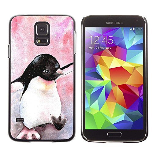 GRECELL CITY GIFT PHONE CASE /// Cellphone Protective Case Hard PC Slim Shell Cover Case for Samsung Galaxy S5 /// cute penguin watercolor baby pink