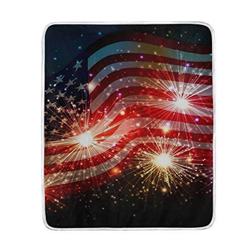 KEEPDIY Fireworks American Flag Blanket-Warm,Lightweight,Soft,Pet-Friendly,Throw for Home Bed,Sofa