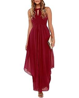 Mujer Vestido Largo Color Puro de Gasa Halterneck Coctel Fiesta Vestidos de Noche y Bodas