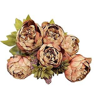 Quaanti 8 Heads Artificial Peony Wedding Flower Bush Bouquet - Vintage Peony Silk Flowers for Home Kitchen Wreath Wedding Centerpiece Decor (Coffee) 18