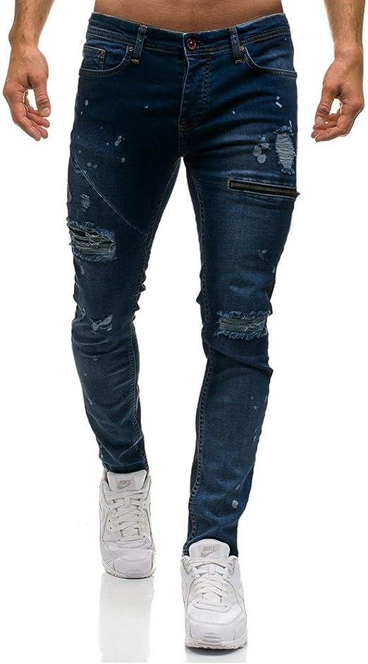 OPPUKI メンズスキニージーンズメンズホールジッパー装飾的なジーンズズボンカジュアルデニムズボン JEM008