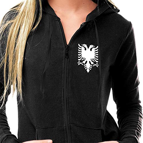 Sportswear Womens Sherpa Lined Fleece Full-Zip Athletic-Fit Hoodie Sweatshirt Lightweight Graphics Printed Pullover Jacket - Albanian Flag Eagle