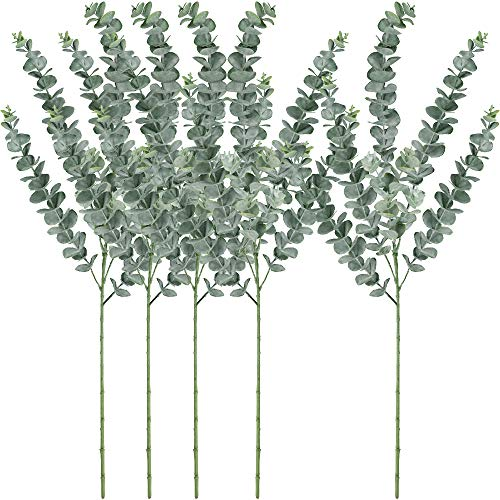 Winlyn 5 Pcs Faux Eucalyptus Leaves Spray Artificial Eucalyptus Branches Plants Artificial Greenery Stems 35″ Tall in Grey Green for Greenery Wedding Party Floral Arrangement