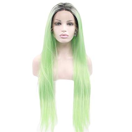 JYA SILK Peluca, Verde Moda Natural Mujer Largo Pelo Lacio Hembra Cordón Peluquín (Tamaño