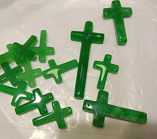 Drilled --6pcs Natural jade stone 25-40mm Ice Light green jade Gemstone Cross Focal Pendant jade cabochon