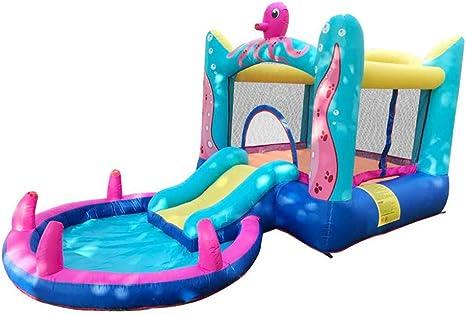 Wzz Jardín Familiar Octopus Bounce House-Castillo Inflable Saltador Tobogán De Agua Juguetes Acuáticos para Niños con Soplador De Aire: Amazon.es: Deportes y aire libre