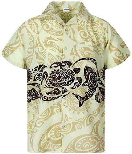 King Kameha Funky Hawaiian Shirt, Shortsleeve, Maori Chest, Beige, 6XL ()