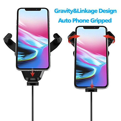 Fast Wireless Charger,MEIWU Car Mount Air Vent Phone Holder Cradle for Samsung Galaxy Note 7/6/S8/S8 plus/S7/S6 Edge plus,QI Wireless Standard Charge for iPhone 8/8 plus/X etc. by MEIWU (Image #2)