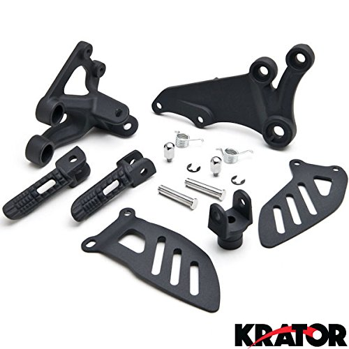 Krator Suzuki GSXR 600 2006-2010 / GSXR 750 2006-2008 (Front) Foot Rests Assembly Kit Frame Fitting Stay Footrests Step Bracket Assembly