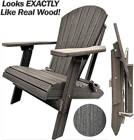 DuraWeather Poly® Classic King Size Folding Adirondack Chair (Coastal Grey)