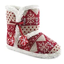Ladies Winter Knitted Boot Slipper with Felt Snowflakes