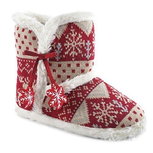 Mujer Invierno De punto Pantuflas Tipo Botín con fieltro Copos de nieve Rojo / Beige