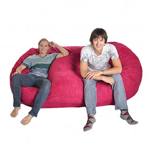 Pink Microsuede Bean Bag - SLACKER sack 8 Foot Huge Foam Microsuede Beanbag Chair Microfiber Lounger, Hot Pink