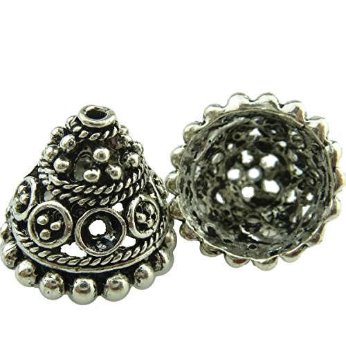 Hollow Filigree Flower Tassel End Cap//Vintage Silver//Retro Filigree Jewelry Finding//Antique Silver Charms Pendant//Connector@JewelryDesign88 10 Pack