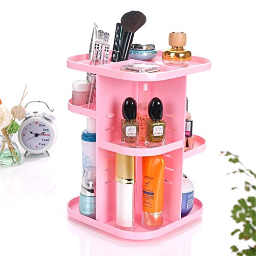 Fashion 360 Degree Rotate Makeup Organizer For Women Sundries Holder Jewelry Box Rack Makeup Storage Holder Jewelry Container , 3