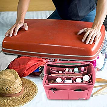 Bridawn Felt Handbag Organizer Tote Shaper with Detachable Zipper Cover Purse Organiser Insert
