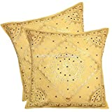 Stylo Culture Throw Pillow Covers 24x24 Set Of 2 Ethnic Embroidered Mirror Living Room Decor Mustard Yellow Large Sofa Outdoor Cushion Covers 24 X 24 |Pair