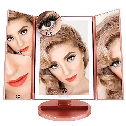 FASCINATE Lighted Makeup Mirror, Tri-fold Vanity Mirror with 36 LEDs Lights and 2X 3X 10X Magnification, Touch Screen Dimming, Dual Power Supply, 180 Rotation Light Up Mirror Rose Gold