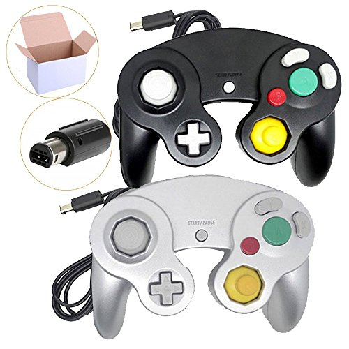 Poulep 2 Packs Classic NGC Wired Controllers for Wii Gamecube (Black1 and Silver1)