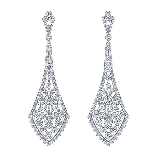 (EVER FAITH Austrian Crystal Wedding Chandelier Art Deco Dangle Earrings Clear Silver-Tone)