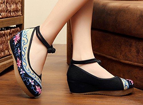Avacostume Oude Beijing Vrouwen Borduurwerk Zomer Sandalen Comfortabele Casual Wandelschoenen Zwart