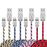 Micro USB Cable 3.0, Android Charger, Yagghe 4Pack/3.3Ft Quick Charge Braided Nylon Cords for Samsung Galaxy S7/S6, Sony, Motorola, Kindle and more Droid USB Charging Cable (Multi-Color)
