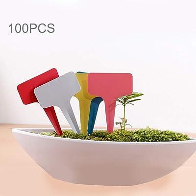 YAZHI-MILA Gardening Tool Supplies 100PCS Floral Label Gardening Label T-Type Label Insert Label Potted Label Random Color Delivery: Home & Kitchen