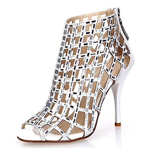 (Jiandick Womens Rhinestone Ankle Bootie Prom Heeled Sandals Evening Dress Stiletto High Heel, White, 9 B(M) US)