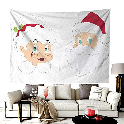 UNOSEKS-Home Custom Made The Office Wall Tapestry,Mr and Mrs Santa Clause North Pole Inhabitants Christmas Themed Cartoon Characters,Printed Tapestry for Office Decoration,60W X 40L Inches Red Cream ()