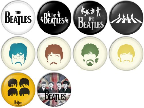 The Beatles Set 2 Pinback Buttons Badges/Pin 1 Inch (25mm) Set of 10 New