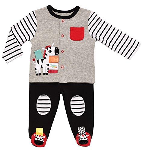 Taggies Rashti & Rashti Baby 2-Piece Cardigan and Footed Pants Set, Zebra, 3 Months