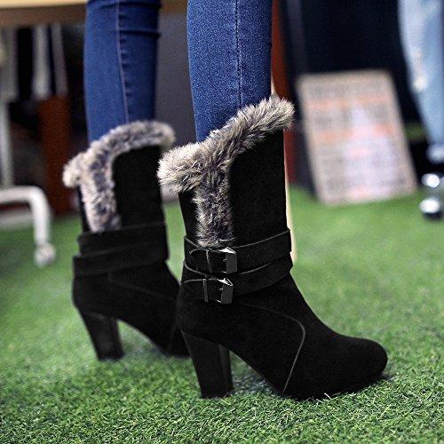COOLCEPT Damen Mode Winter Stiefel Ohne Verschluss Black