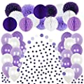 Lavender Themed Party Decoration Supplies – 50 White & Purple Paper Tissue Pom Poms & Honeycomb Balls For Birthday Party, Wedding, Baby Shower –Fluffy Pompoms With Matching Balloons, Garland & Confetti
