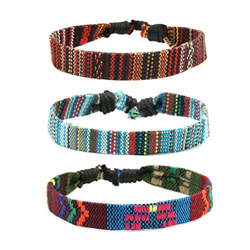 HZMAN Mix 6 Wrap Bracelets Men Women, Hemp Cords Ethnic Tribal Bracelets Wristbands (Mix 3 Wrap B)