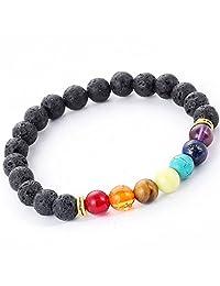 Discreet Moments 7 Chakra Healing Bracelet Men, Woman, Unisex 8mm Black Volcanic Lava Rock Beads. Positive Energy Gemstones semi-precious stones, Mala Meditation Lava Stone Oil Diffuser Bracelet