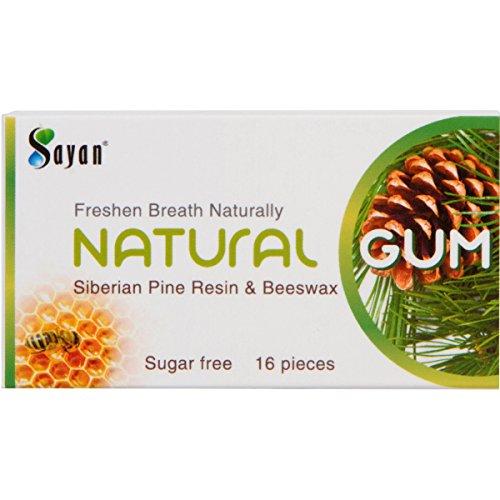 Sayan Sugar Free All Natural Gum 6 Packs (96 Pieces)| Siberian Pine Tree Resin & Beeswax Chewing Gum for Fresh Breath | Vegan, Non-GMO, No Sugar, Gluten Free, Aspartame Free | No (Gum Resin)