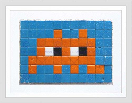 Pixel Art Monster Space Invader Orange Tile Black Framed Art Print B12X13959