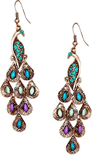 (Vintage Peacock Blue Epoxy Crystal Feather Dangle Statement Earrings, Rose Gold)