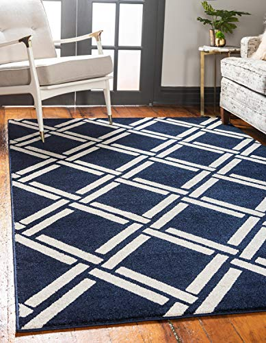 Unique Loom Trellis Collection Geometric Modern Navy Blue Area Rug (5' 0 x 8' 0)