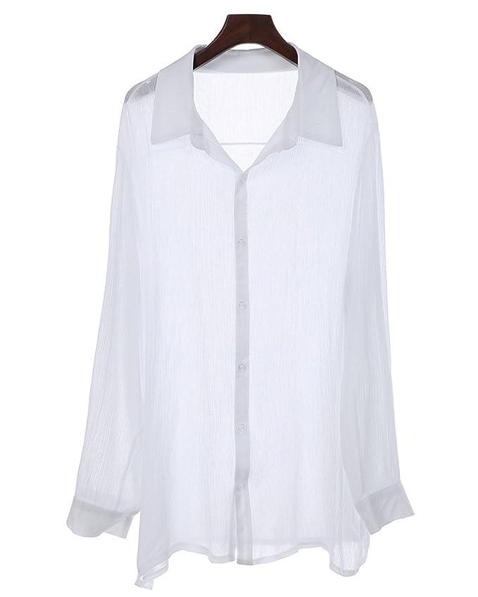 ShallGood Camisa Hombre Lino Blusa Casual De Manga Larga Blusa Suelta Casual Cuello Alto Transpirable Top Color Sólido Trabajo Camisa Shirt: Amazon.es: Ropa ...