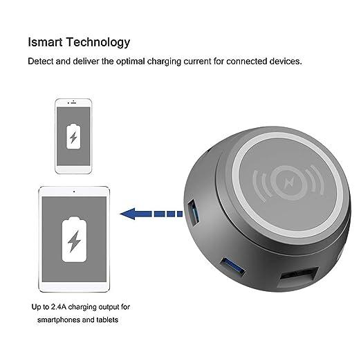 Cargador USB Inalámbrico Multifunción Rápido Y Redondo con 6 ...