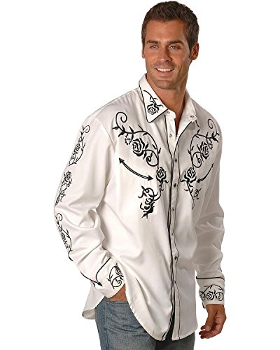 - Scully Men's Floral Embroidered Vintage Western Shirt White X-Large
