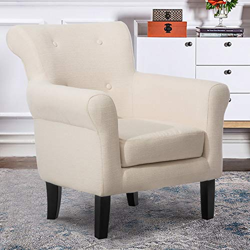 (Harper&Bright Designs Contemporary Accent Chair Fabric Upholstered Club Armchair with Solid Wood Leg, Beige)